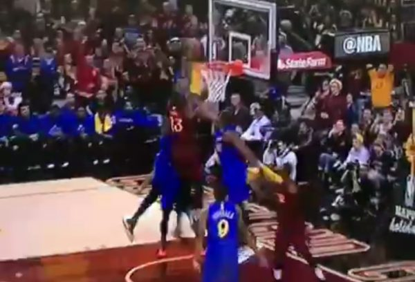 e188bd0b7e02 Video  LeBron James Posterizes Draymond Green and Kevin Durant at ...