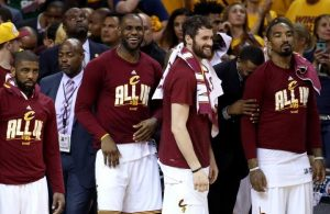 Kyrie Irving, LeBron James, Kevin Love, J.R. Smith