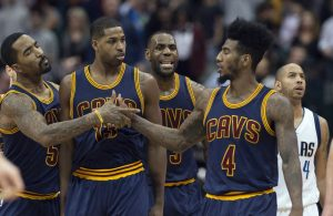J.R. Smith, Tristan Thompson, LeBron James, Iman Shumpert