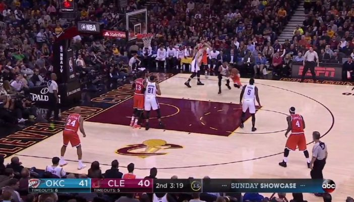 Kyrie Irving crosses over Russell Westbrook