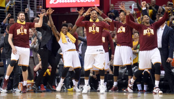 Kevin Love, Iman Shumpert, J.R. Smith, Channing Frye, Tristan Thompson Cavs Bench