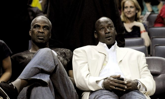 Charles Oakley and Michael Jordan