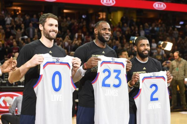 Kevin Love, LeBron James, and Kyrie Irving