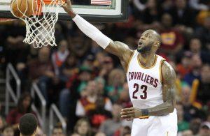 LeBron James dunking vs. Utah Jazz