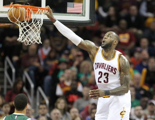 LeBron James dunking vs. Utah Jazz