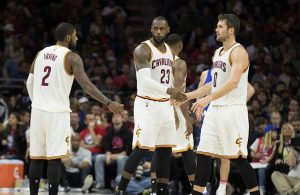 Kyrie Irving, LeBron James, and Kevin Love