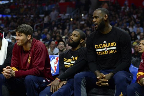 Kyle Korver, Kyrie Irving, and LeBron James on Bench