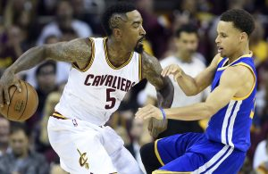 J.R. Smith Stephen Curry Warriors