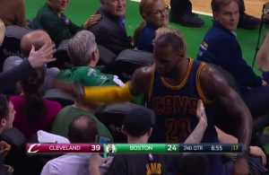 Video: LeBron James Rejects Marcus Smart's Shot, Celebrates With Fans Behind Basket