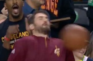 Video: Kevin Love Takes Brutal Shot to Face During Warmups