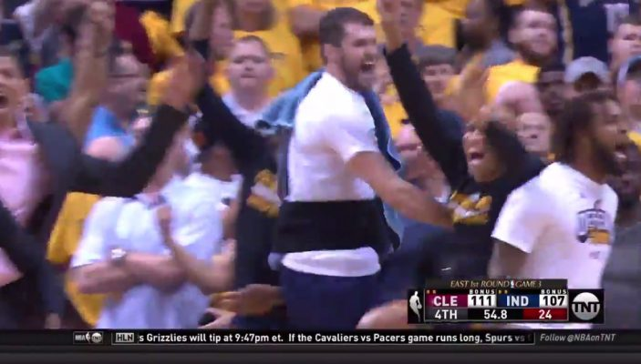 Video: Cavs Bench Erupts as Channing Frye Nails Game-Clinching Triple