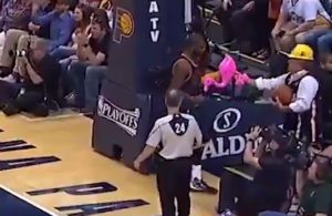 Video: Kyrie Irving Savagely Slaps Pink Flamingo Out of Pacer Fan's Hand