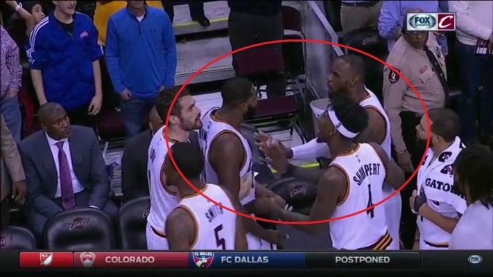 LeBron James and Tristan Thompson Arguing