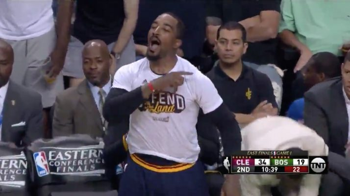 J.R. Smith Yelling at Marcus Smart Bench