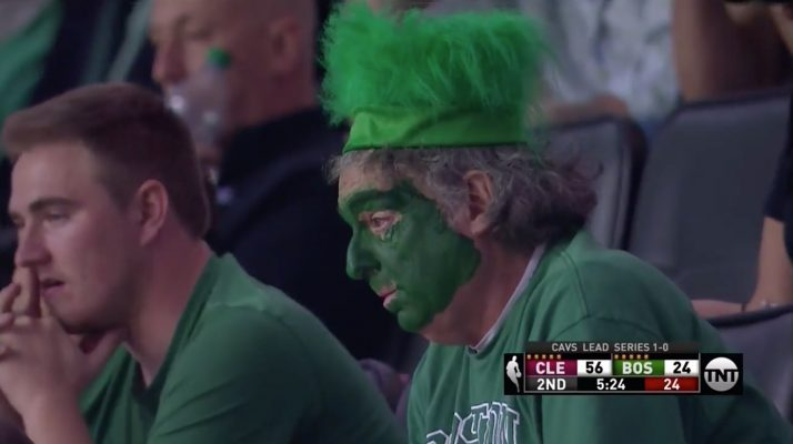 Video: Kyrie Irving Hits Deep Three During Cavs Onslaught as Poor Celtics Fan Looks on