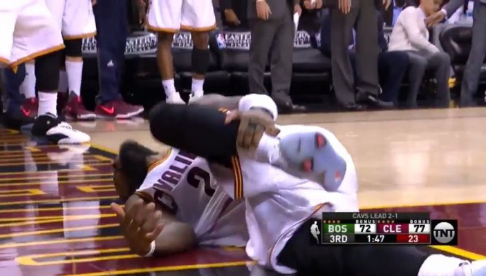 Video: Kyrie Irving Goes Down With Ankle Injury on Drive Attempt