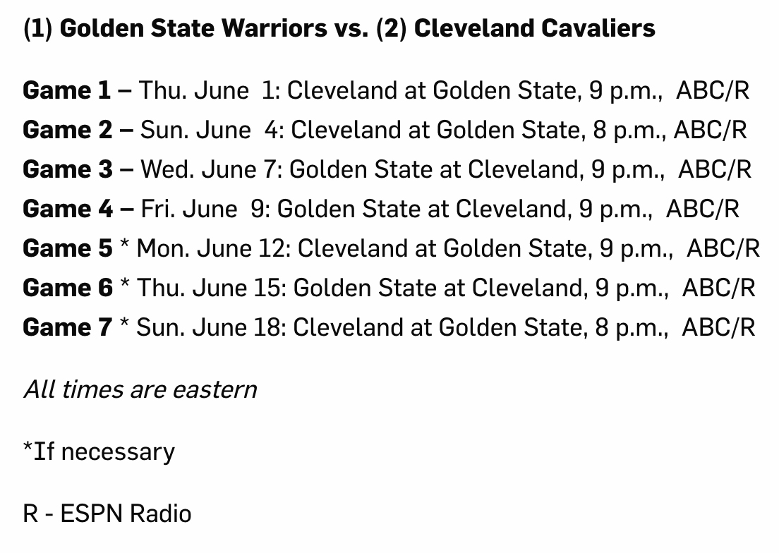 Full 2017 NBA Finals Schedule Released for Cavs vs. Warriors Trilogy