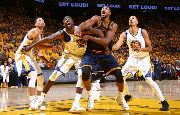 Tristan Thompson rebounding Warriors