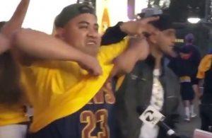 Video: Undercover Cavs Fan Trolls Warriors Fans During Live Interview