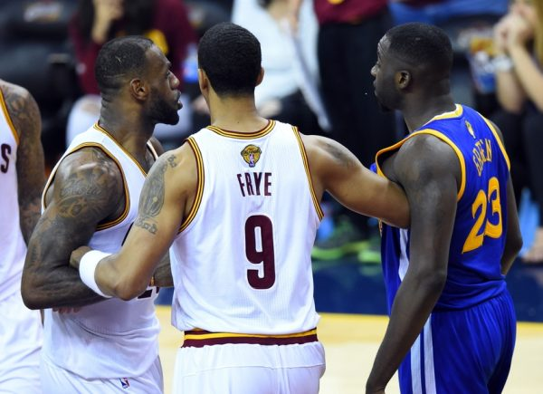 LeBron James, Channing Frye, and Draymond Green