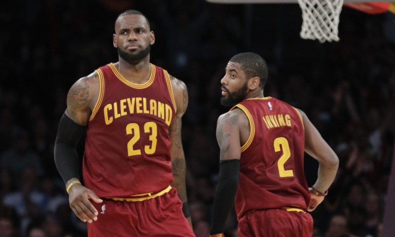 LeBron James and Kyrie Irving mad
