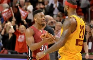 Norris Cole and LeBron James Cavs Miami Heat