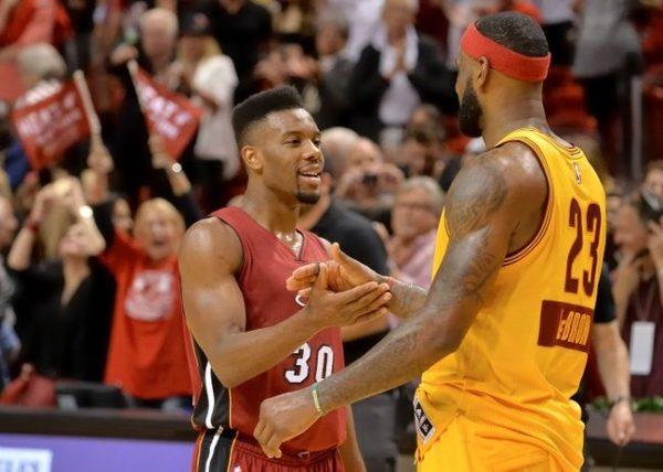 Norris Cole and LeBron James Cavs Miami Heat