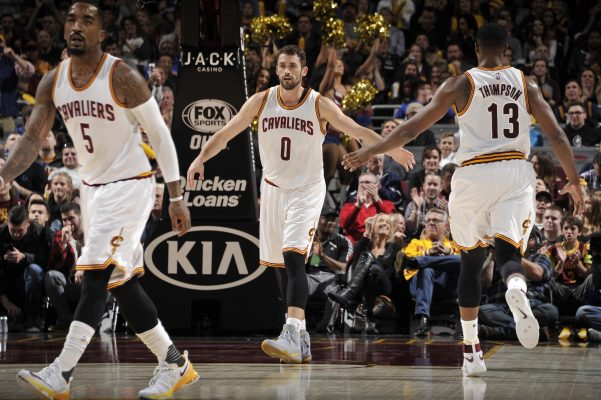 J.R. Smith, Kevin Love, and Tristan Thompson