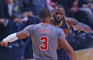 Dwyane Wade and LeBron James, Chicago Bulls and Cleveland Cavaliers Hugging