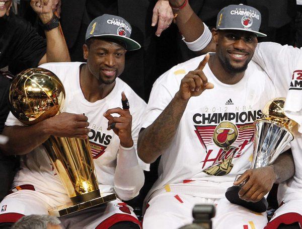 Dwyane Wade and LeBron James Miami Heat Championship
