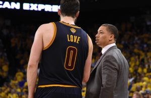 Kevin Love and Tyronn Lue