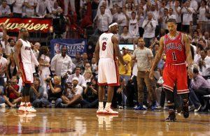 Dwyane Wade, LeBron James, and Derrick Rose