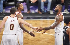 Kevin Love, J.R. Smith, and LeBron James