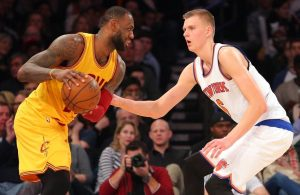 LeBron James and Kristaps Porzingis
