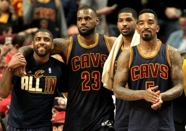 Kyrie Irving, LeBron James, Tristan Thompson, and J.R. Smith