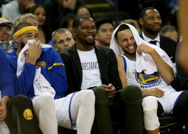JaVale McGee, Kevin Durant, Steph Curry Warriors Laughing