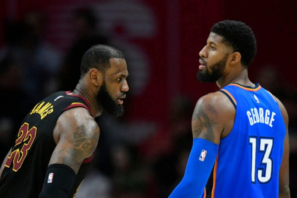LeBron James and Paul George Cavs Thunder