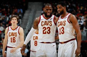 Cedi Osman, LeBron James, and Tristan Thompson