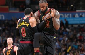 Jordan Clarkson and LeBron James Cavs