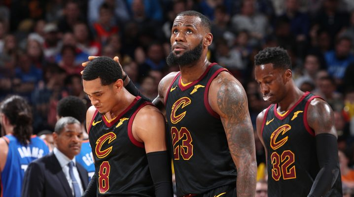 LeBron James, Jordan Clarkson, and Jeff Green