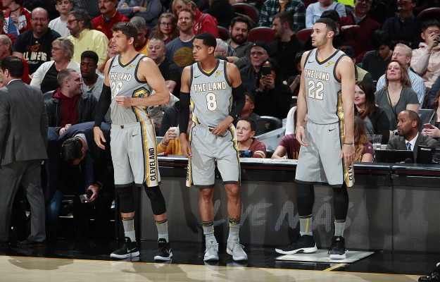 Kyle Korver, Jordan Clarkson, and Larry Nance Jr.