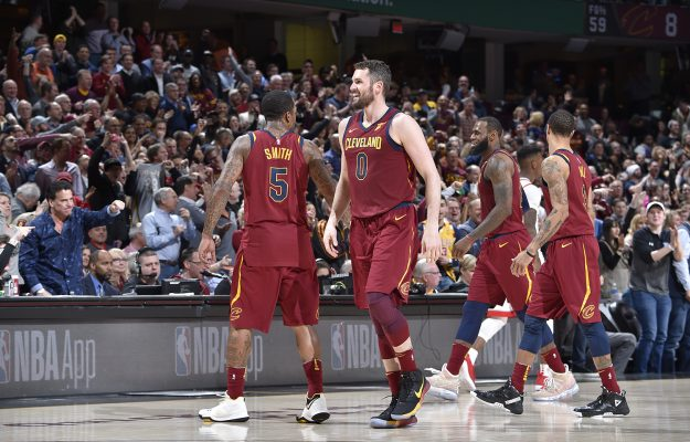 J.R. Smith, Kevin Love, LeBron James and George Hill
