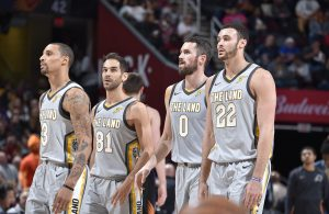 George Hill, Jose Calderon, Kevin Love, and Larry Nance Jr.