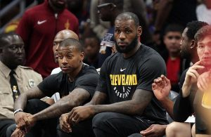 Isaiah Thomas and LeBron James Cavs Bench