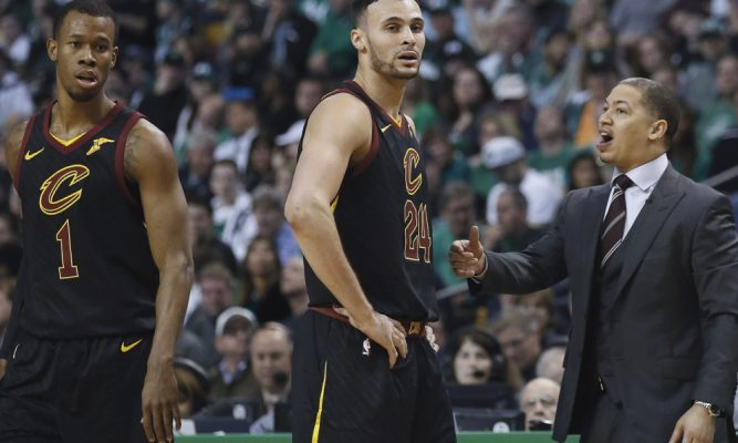 Rodney Hood and Larry Nance Jr. Cavs