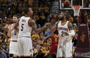Kyrie Irving and J.R. Smith Cavs