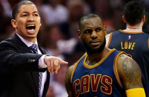 Tyronn Lue LeBron James and Kevin Love