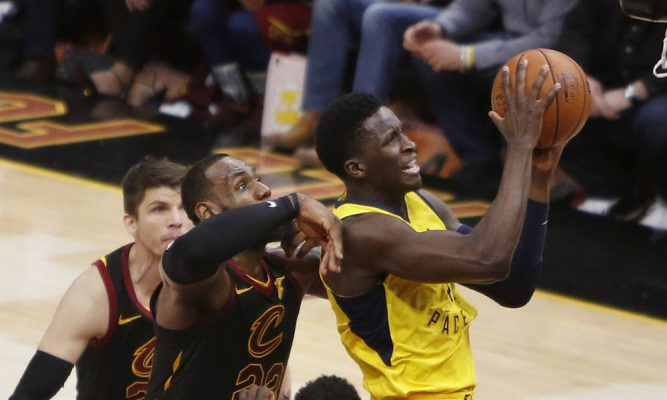 LeBron James Goaltends Victor Oladipo