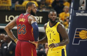 LeBron James and Lance Stephenson Cavs Pacers