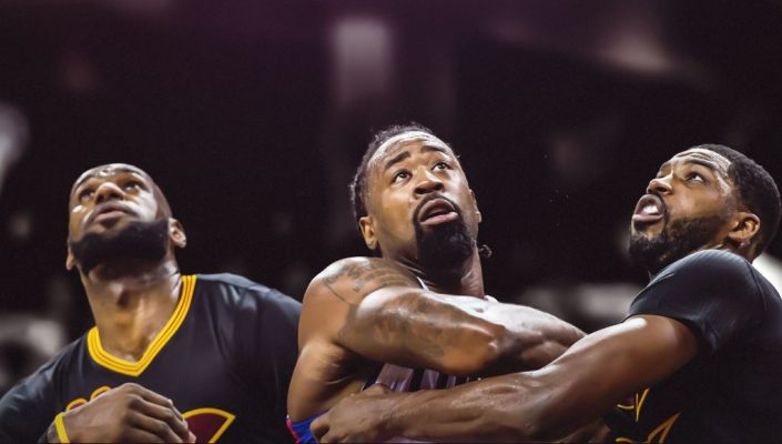 LeBron James, DeAndre Jordan, and Tristan Thompson